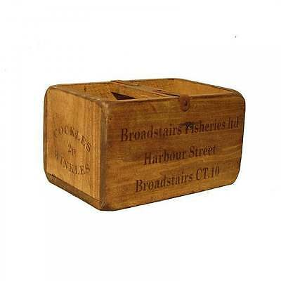 Broadstairs Fisheries Wooden Crate Storage Trug Vintage Advertising Bottle Box
