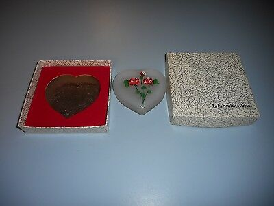 Vintage L.E. Smith Hand Painted Heart Paperweight in Box