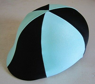 Horse Helmet Cover AUSTRALIAN MADE Pale blue & Black Choose your size