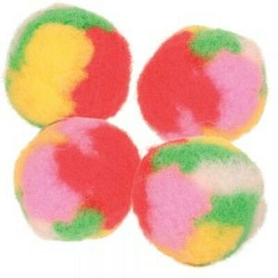 lot de 4 balles POMPON douces jouet chat MULTICOLORE