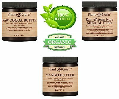 3 Pack Cocoa Butter, Unrefined Shea Butter, Mango Butter 100% Pure Raw Organic
