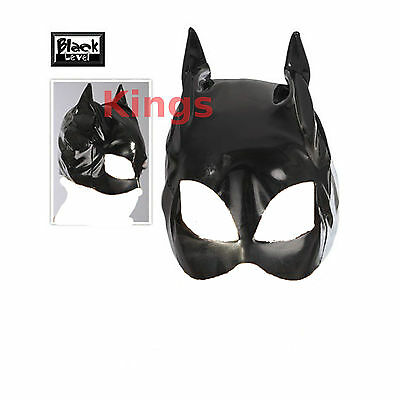 Black Vinyl Cat Mask Masquerade Mask Cat Woman Cat Ears Fancy Dress Dress Up