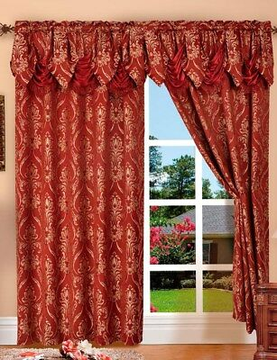 Curtains Ideas austrian valances curtains : 2 Penelopie Jacquard Look Curtain Panels with Attached Austrian ...