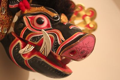 hand carved Painted Balinese Babi (pig) Barong Mask moveable jaw barong dance