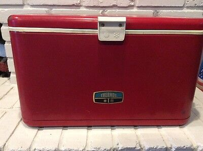 "Vintage Thermos Ice Chest Cooler Metal Steel Red 22"" Camping Hunting Man Cave"