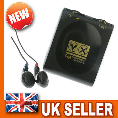 Pocket Portable FM Radio - Stereo Earphones Headphones - Belt Clip - BLACK Mini