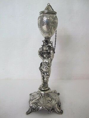 Magnificent German .800 Silver Figural Oil Lamp