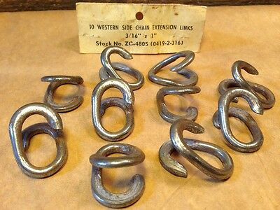 "10 Western Side Chain Extension Open Links 3/16"" Metal 1"" Long Nice! New!"