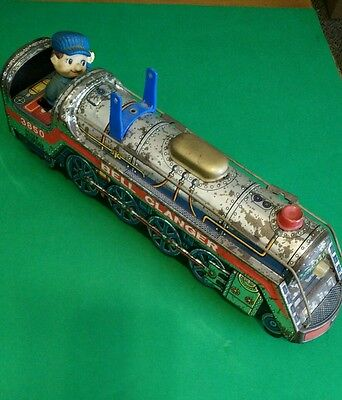 """vintage 1969 modern toys toy tin train """"bell clanger"""" 15"""" made in japan"""