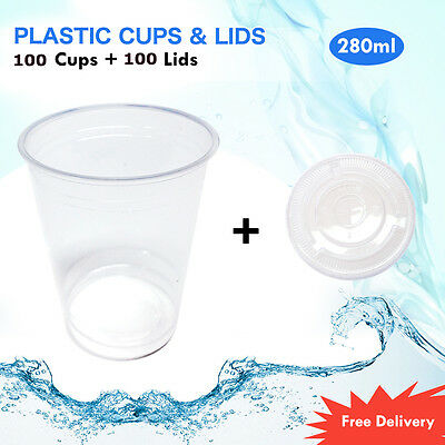 Disposable Plastic Clear Cups With Flat Lids 100pc 280ml Drinking Water Cup