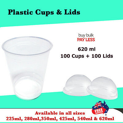 Disposable Plastic Clear Cups With Dome Lids 100pc 620ml Drinking Water Cup Bulk