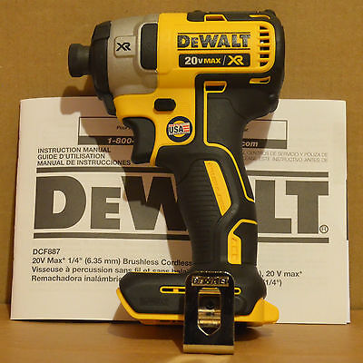 "NEW DEWALT DCF887 20V MAX XR Cordless Li-Ion Brushless 1/4"" Impact Driver"