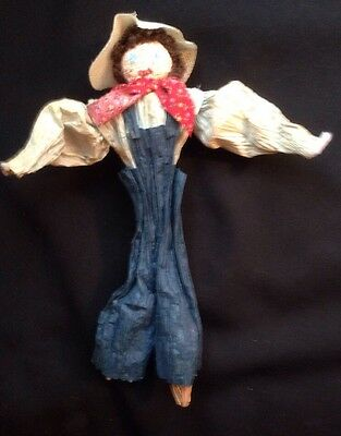 Corn Husk Doll Boy with Overalls and Bandana Folk Art