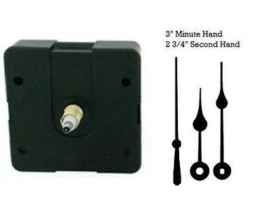 """Clock Movement Mechanism With 4/"""" straight Gold hands for Dials up to 1//4/"""" thick"""