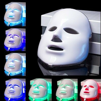 AU SELLER White 7 Colors Light LED Facial Mask Therapy Acne Aging Less Wrinkles