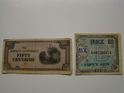 (2) US Military in Occupied Japan Japanese Currency Bank Notes 1940's