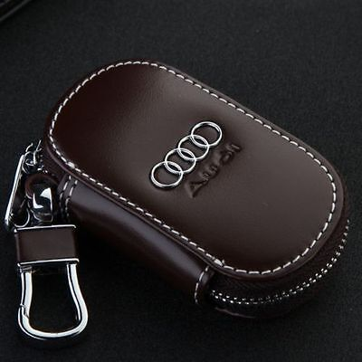 Brown Genuine Leather cowhide Car Key Holder Keychain Ring Case Bag For Audi