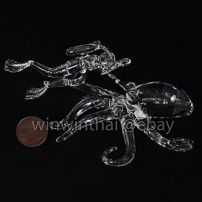 SCUBA DIVER with OCTOPUS FIGURINE Hand Blown Glass