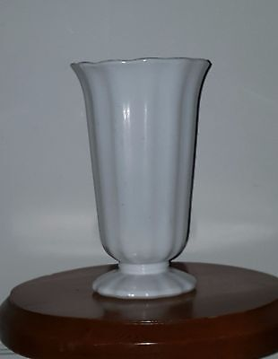 White milk glass tall ribbed vase