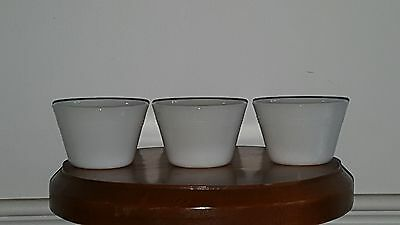 White milk glass custard cups - set of 3