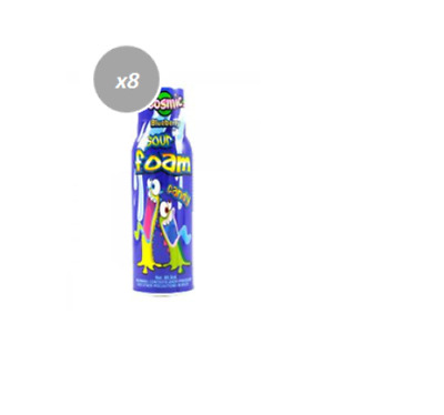 909857 BOX OF 12 x 90mL BOTTLES OF SPRAY SOUR FOAM CANDY - BLUE RASPBERRY