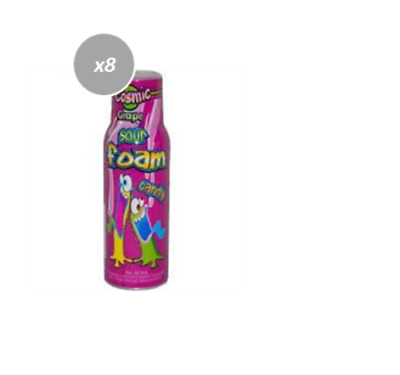 909869 BOX OF 12 x 90mL BOTTLES OF SPRAY SOUR FOAM CANDY - GRAPE FLAVOURED