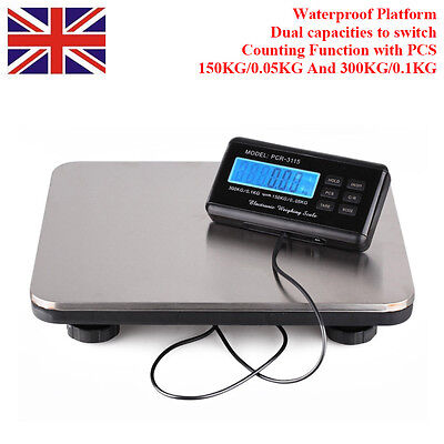 UK DIGITAL HEAVY DUTY 300kg Industrial Commercial Parcel Scales Weighing Pallet