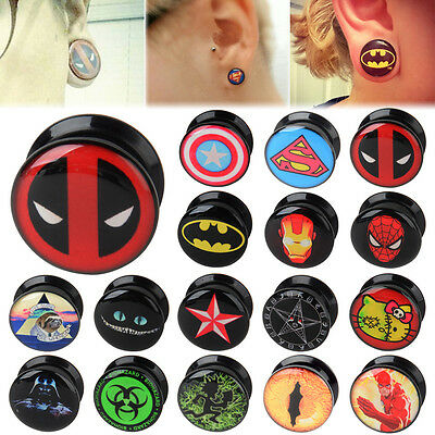 PAIR Double Flared Screw Fit Printed Logo Ear Plugs Flesh Tunnels Acrylic Gauges