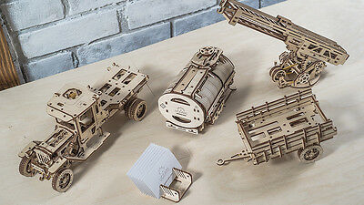 UGears NEW MODEL 3D puzzle - 3 Additions UGM-11 Truck Fire Ladder Tanker Chassis