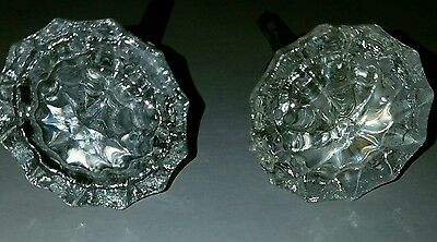 Antique Victorian 12 Point Crystal Glass Door Knob Set