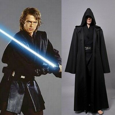 5pcs Star Wars Anakin Skywalker Halloween Cosplay Costume Noir *S-3XL*