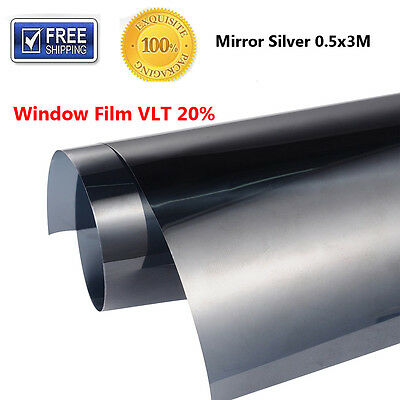 """Mirror Window Film Silver Tinting Reflective Privacy Tint 20"""" x 10 ft 20% VLT"""