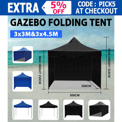3x3M 3x4.5M Pop Up Outdoor Gazebo Marquee Folding Tent Canopy Party Stall Shade