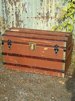 Antique trunk chest domed storage box travel case steamer
