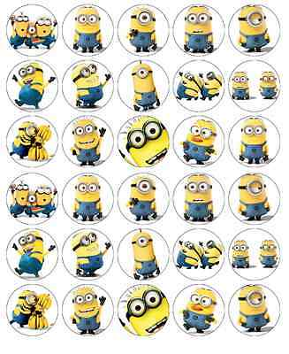 30 x Minions Despicable Me Cupcake Toppers Edible Wafer Paper Fairy Cake Toppers