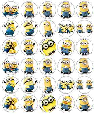 30x Despicable Me Minions Cupcake Toppers Edible Wafer Paper Fairy Cake Toppers