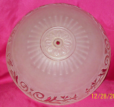 Vintage Antique Pink Satin Glass Shade Ceiling Light Fixture  3-hole
