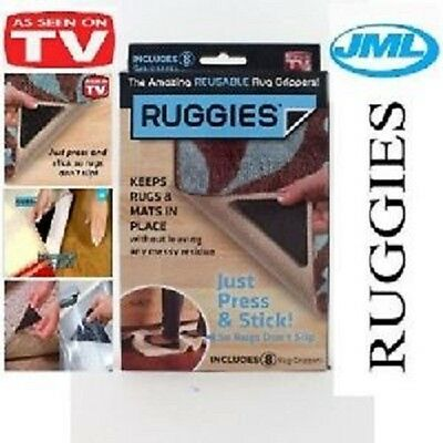 2,4,8,16,24 JML Grippers RUGGIES Rug Carpet Mat Grippers Non Slip Silicone