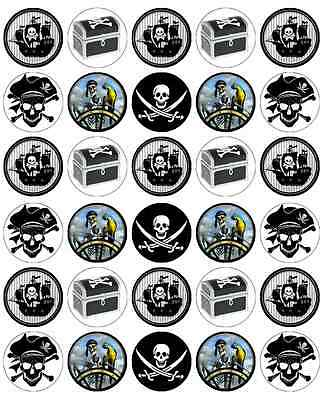 30 x Pirate Cupcake Toppers Edible Wafer Paper Fairy Cake Toppers