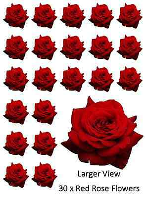 30 x Red Rose Single Cupcake Toppers Edible Wafer Paper Fairy Cake Toppers