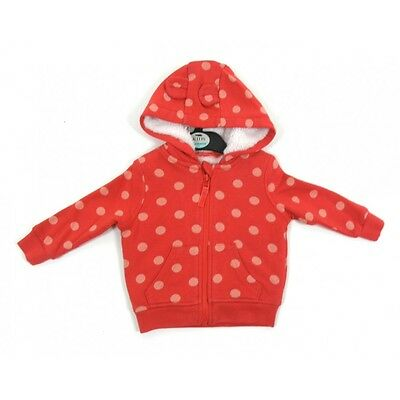 Girls Baby Red Polka Dot Spotted Hoodie Tracksuit Top Fur Hood 3 Months - 5 Yrs