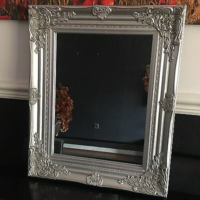 Antique Style Wood Frame Silver French Ornate Wall Mirror Dressing Table Mirror