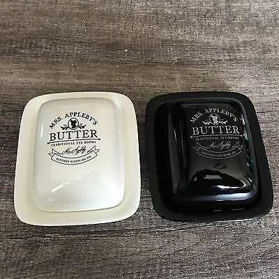 Retro Mrs Appleby's Ceramic Butter Dish Black Cream Novelty Butter Sih With Lid