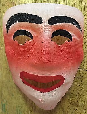 Vintage 1950s Gauze Halloween Mask - Scary - Creepy Clown / Ghost (?) - Mint