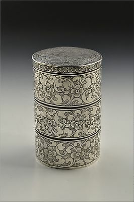 Antique 19th Century Chinese Silver Stack Box w/ Dragon & Flowers