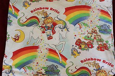 Vintage Rainbow Brite Twin Fitted Sheet Crafter Fabric Material 1980's Hallmark