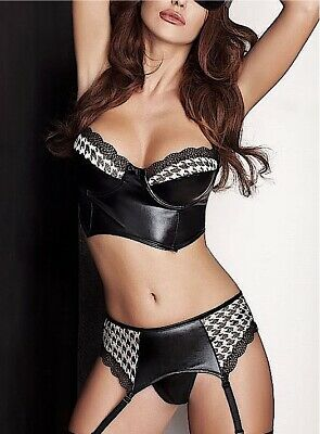 Passion Lingerie Wetlook Leather/PVC Look Black Virgin Bra And Garter Set S-XXXL