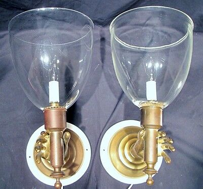 Opposing Unusual Pair of Brass Large Hand Hurricane Sconces c.1960's