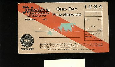 Robertson's Drug Stores Film Service with negatives  cover Canada