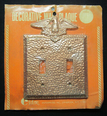 New Vintage Elden Copper Hammered 2 Gang Switch Plate Cover Eagle Arrows Branch
